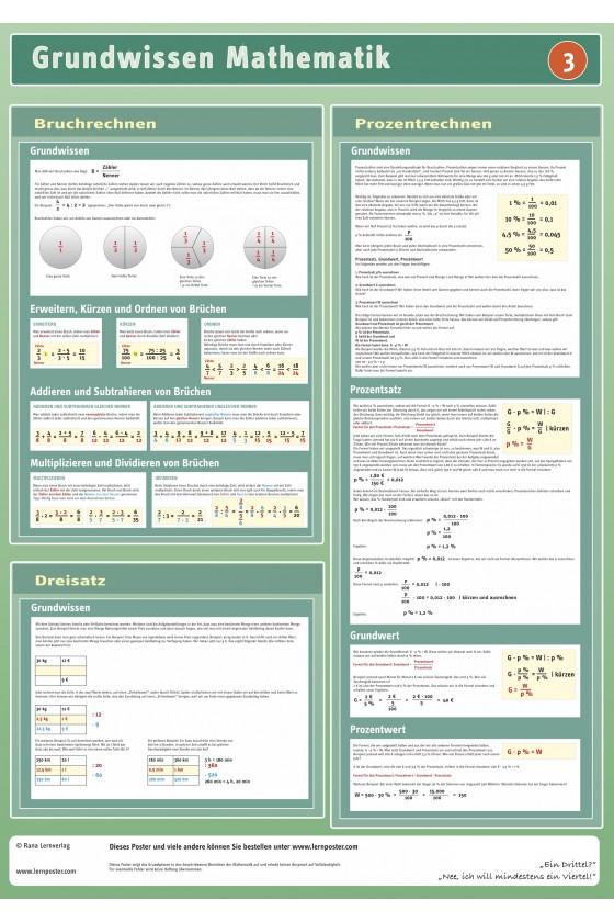 Mathematik Lernposter Poster Bruch Prozent Dreisatz Bruchrechnen Unterrichtsmaterial Schule