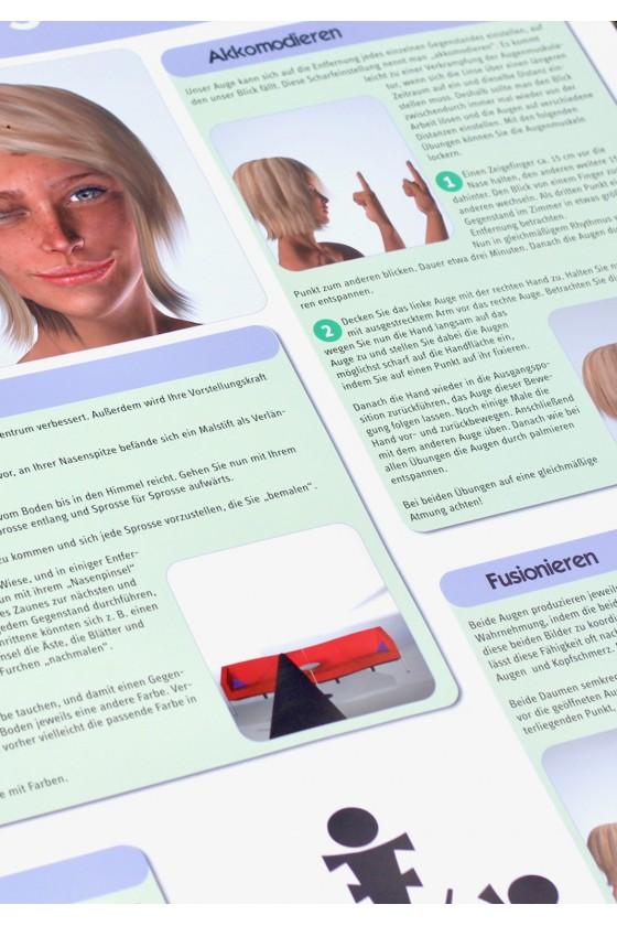 Mit verschiedenen Augenübungen die Sehkraft erhöhen. Das Lernposter Sehkraft.
