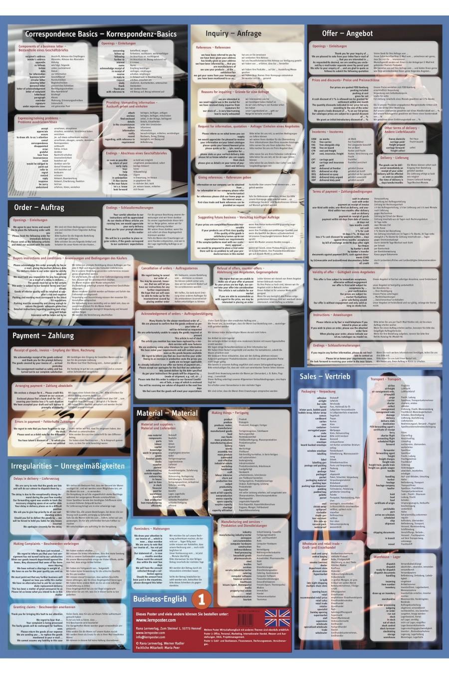 Englisch Deutsch Vokabeln Poster Lernhilfe Vokabelposter Business Englisch Poster leichter lernen mit lernposter lernplakat