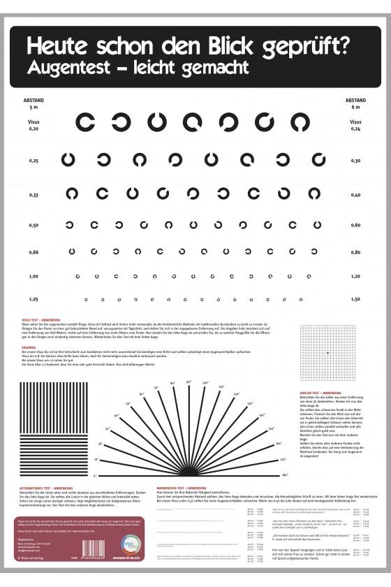 Poster Augentest - Zum Testen der Sehkraft. Anwendung für den Führerschein oder Medical Class 1 - Pilot 234dsjf2