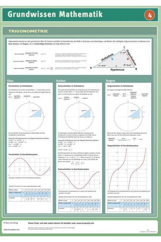 Mathematik Lernposter Poster Trigonometrie Unterrichtsmaterial Schule